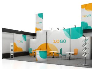 Blank creative exhibition stand design with color shapes. Booth template.