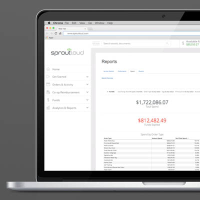 laptop displaying SproutLoud SaaS marketing platform