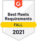 Best Meets Requirements – 2021 – by software review platform G2
