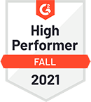 High Performer – 2021 – by software review platform G2